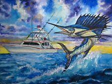Watercolor Painting Blue Ocean Fish Sailfish Fishing Boat Yacht Nature 5x7
