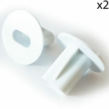2x 8mm White Twin Shotgun Cable Bushes-Feed Through Wall Cover-Coaxial Hole Tidy