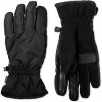Isotoner Mens Smart Dri Fleece Lined Touch Screen Winter Gloves Black L
