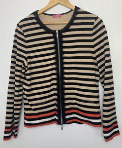 BASLER 44 Striped Fully Lined Cardigan 16 Leather Look Trim Zip Up Jacket Jumper