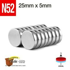 25mm x 5mm-1in x 3/16in N52 Super Strong Rare Earth Neodymium Magnet Disc USA