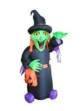 Halloween LED Air Blown Inflatable Yard Blowup Decoration Witch with Pumpkin Bag