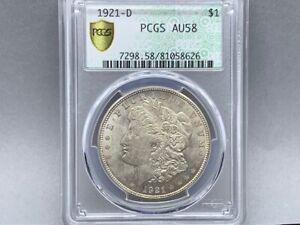 1921-D PCGS AU 58 Morgan Silver Dollar! Original Great Strike and Luster! Green
