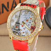 Women Triumphal Arch Paris Eiffel Tower Diamond Leather Band Quartz Wrist Watch