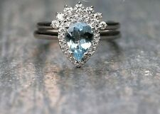 Aquamarine Pear Shaped Ring & Diamond Crown Nesting 14K White Bridal 2pcs Rings
