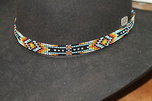 Western SW Vintage Style Stretch Beaded Hatband for Cowboy Rodeo