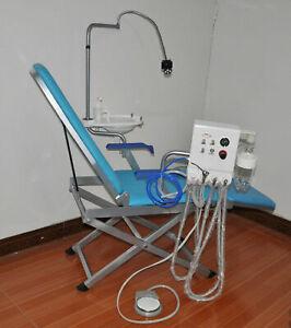 Dental Portable Folding Chair+LED Light+Turbine Unit+Weak Suction 4 Hole BEST