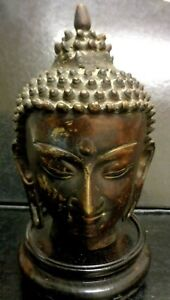 Vintage Bronze Quality Made Thai Buddha Bust Statue On Wood Base