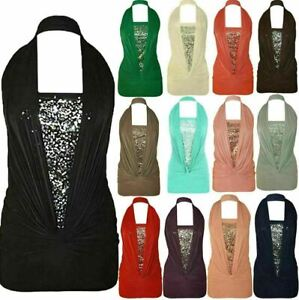 New Womens Ladies Sexy Sequin Halter Neck Ruched Boob Tube Stretch Party Top