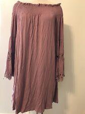 Lapis Womens Dress Size L Elastic Convertible Skirt Boho Bell Sleeve Brick Color