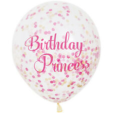 1st BIRTHDAY Pink and Gold PRINCESS CONFETTI BALLOONS (6) ~ Party Supplies Girl