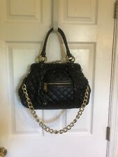 Marc Jacobs Quilted Genuine Leather Stam Satchel Bag Large Kiss Lock