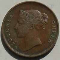 Straits Settlements 1862 Queen Victoria One Cent Coin KM#6 Malaysia