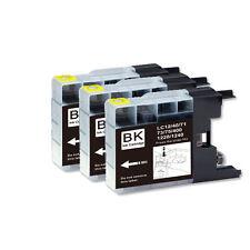 3 PK BLACK Premium Ink for Series LC71 LC75 Brother MFC J280W J425W J430W J435W