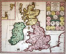 Grossbritannien und Irland Landkarte Kupferstich von Weigel um 1720 Original!