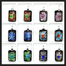 12 Pcs Lovely long Crystal Murano art glass beaded leather pendant necklace