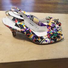 Stuart Weitzman For Mr. Seymour Vintage Floral High Heels Slingbacks Size 7 N