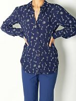 NEW WOMENS EX WAREHOUSE NAVY WITH WHITE KEY PRINT LONG SLEEVE SHIRT SIZE 8-12