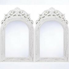 Lot 2 Shabby Distressed Arched White Wall Wood Mirror