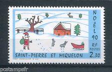 ST-PIERRE-et-MIQUELON, 1990, timbre 533, NOEL, DESSIN d' ENFANT, neuf**
