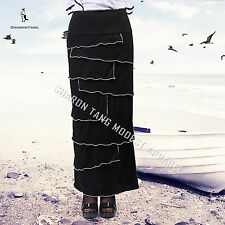 SHARON TANG Modest Apparel Long Black Stretch Layer Ruffle Piping Maxi Skirt S