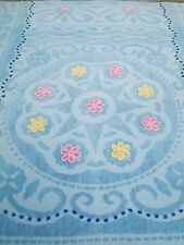 """VINTAGE CHENILLE BEDSPREAD 100"""" X 90"""" Colored FLOWERS  DOUBLE SIZE"""