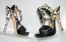"Bebe clubwear patent sandal snake ankle strap 6"" stiletto heel 1"" heel size 9M"