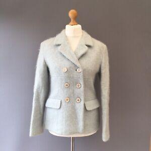 Vtg KAREN MILLEN 64% MOHAIR WOOL Coat Blazer Jacket 14 12 Blue double breast R14