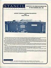 Vintage STANCIL Ad Brochure: AIRPORT TERMINAL INFO SERVICE - ATIS Model TRC-180
