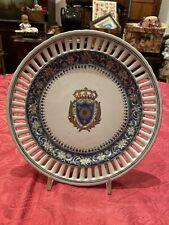 Antico Piatto Porcellana Stemma Decorato A Mano