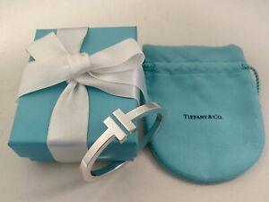 Tiffany & Co Sterling Silver T Square Cuff Bangle Bracelet Unisex RRP $2300