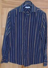 Men's Black and Brown Striped Long Sleeve BHS Shirt Size L