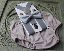 1st Birthday boy cake smash diaper cover bow tie boy clothes gray