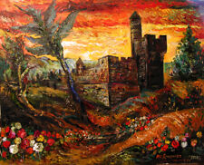 Impressionist Judaica Painting TOWER OF KING DAVID IN ISRAEL by Ari Roussimoff