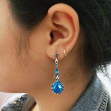 Stylish Blue Water Drop Earrings Crystal Vintage Long Earrings Dangle Earrings--
