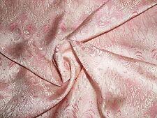 "NEW SIZE~SMALL JACQUARD PRINT SILK BROCADE~9""x22""~PINK & IVORY~DOLL DRESS FABRIC"