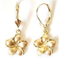 14K Solid Yellow Gold Hawaiian Plumeria Flower Earring W:12 mm L: 29 mm E2517-90