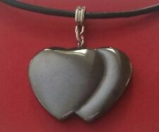 Double Heart Necklace Leather NEW Hematite Charm Pendant Valentines Day Love