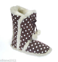 ladies coolers poka dot slipper boots sizes 3/4 5/6 7/8 girls warm comfy