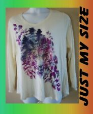 WOMEN'S PLUS SIZE 2X 18W 20W JUST MY SIZE, SPARKLE CAT FACE SHIRT - CLOTHING NEW