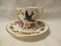 Vintage Aynsley England Demitasse Cup & Saucer Capistrano Bird w/Flower PEMBROKE