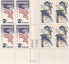 Lot 0f 2 Plate Blocks - Scott #1241 Audubon - #1249 Register to Vote - MNH