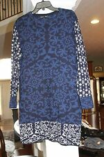Gypsy 05 Global Village Blue Black Sweater Dress Ladies sz S    (bin118)