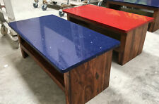 DESIGNS LIVING GRANITE/QUARTZ WOOD COFFEE TABLE QUIRKY RETRO BLUE RED