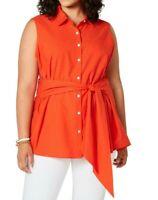 Tommy Hilfiger Women's Blouse Orange Size 0X Plus Button Down Cotton $79 #341