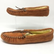 Greatland Mens Moccasin Slippers Beige Moc Toe Tie Bow Shearling Lined Leather 9