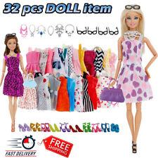 32 Item/Set DOLL Accessories  Dollhouse FURNITURE Dress NECKLACES Glass & SHOES