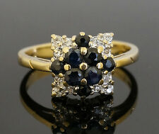 Vintage 9ct Yellow Gold Sapphire & Diamond Cluster Ring (Size J) 9x9mm Head