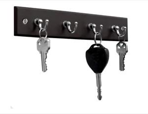 Black Key Hook Rack Wall Mounted Holder 4 Hooks Home Decoration Organizer Wood
