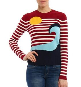 Red Valentino Sun and Waves Stretch Knit Sweater Pullover Top fits S / M ribbed